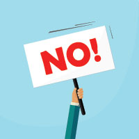 "Cartoon of a person holding a sign saying ""No!"""
